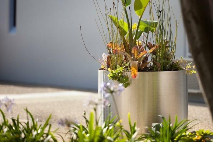 pflanzkasten ideen pflanzkübel aus edelstahl