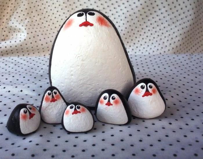 pinguin familie auf steinen malen