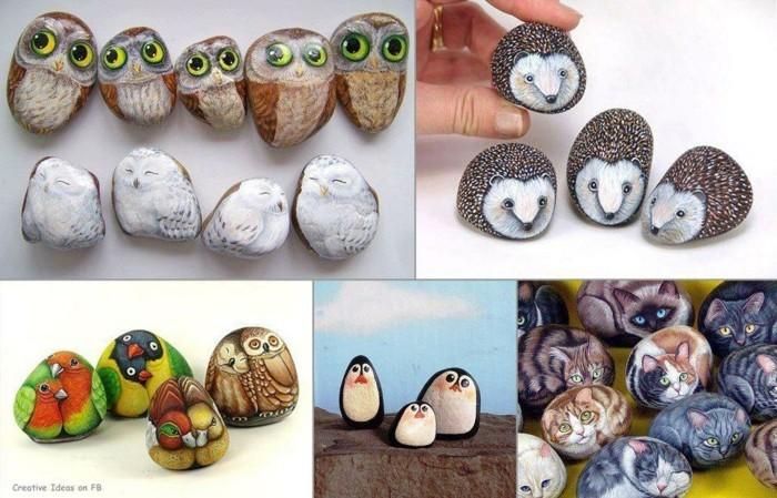 süße tiere auf steine malen eulen igel pinguine