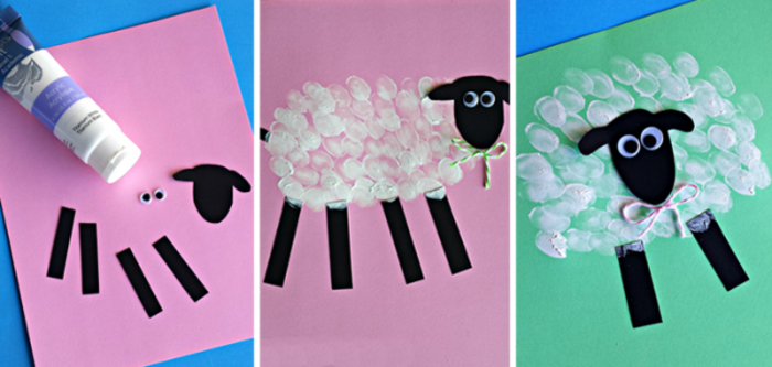 schaf malen mit kleinkindern bastelpapier fingerfarben