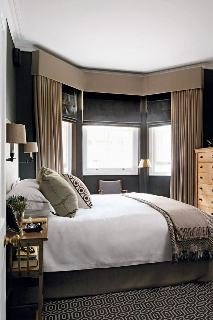 wohnideen schlafzimmer sichtschutz mit blickdichten gardinen
