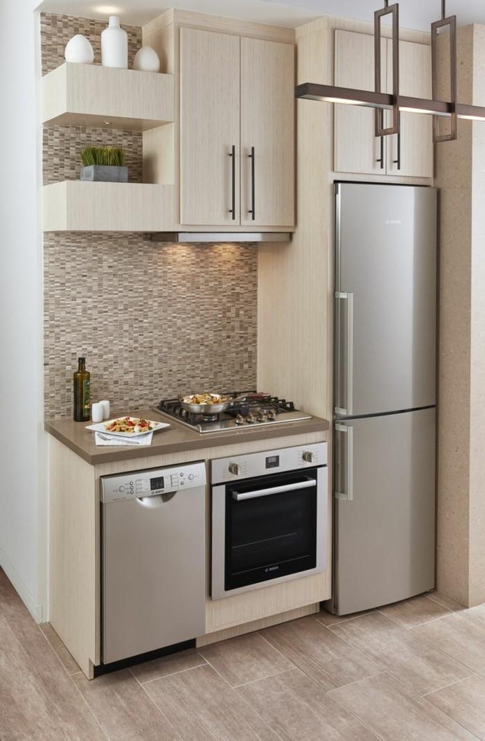 singleküchen sparen platz trendiges design in beige