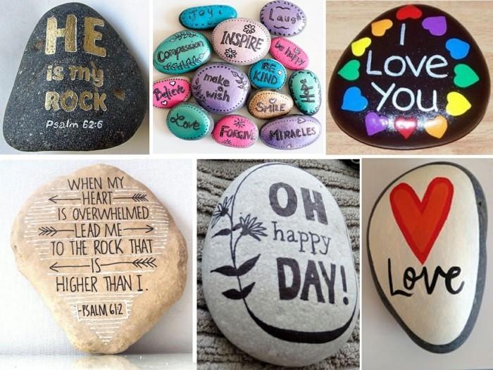 steine bemalen und beschriften mit bunten farben