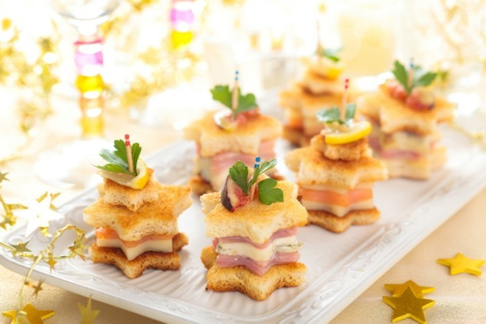 sterne fingerfood kindergeburtstag ideen brot schinken käse
