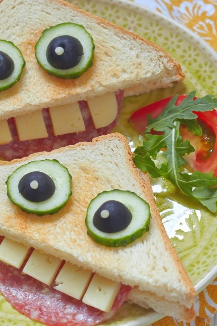 toast brote kindergeburtstag fingerfood ideen mit salami gurken käse