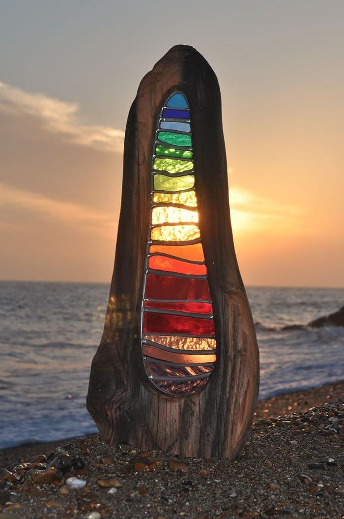 treibholz deko basteln mit naturmaterialien wanddekoration glas bemalen