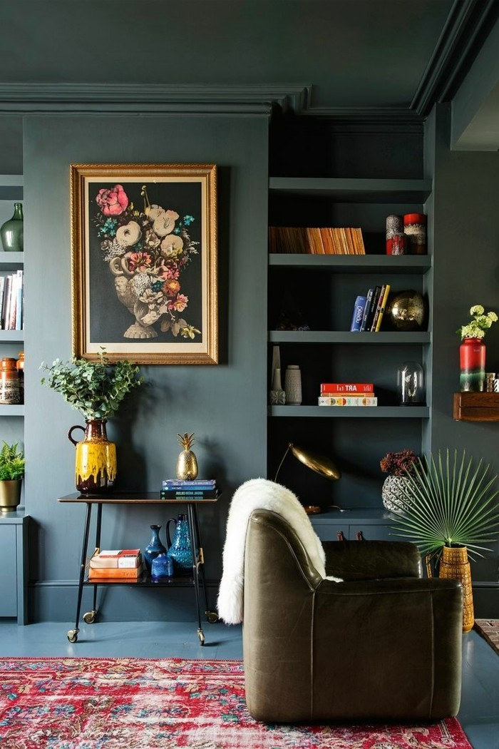 trends für den kommenden herbst wohnzimmer mit grünen wänden