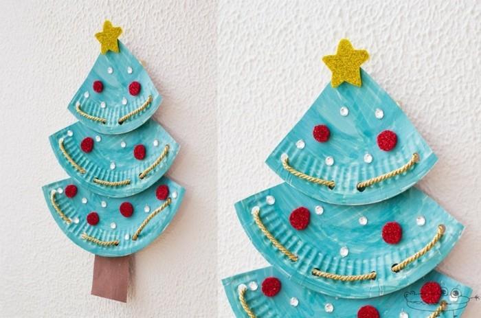 weihnachtsbaum basteln mit kleinkindern pappteller papier