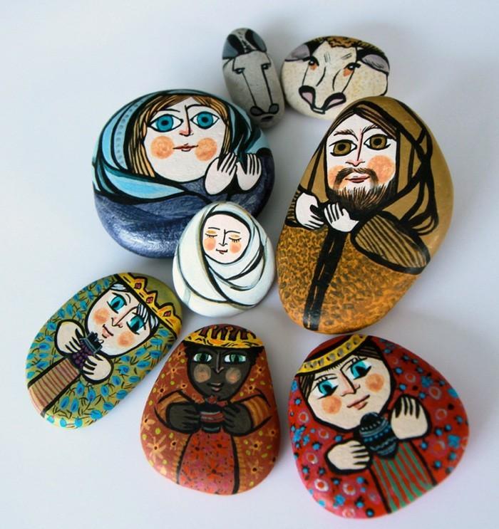 weihnachtsmotive steine bemalen idee krippe