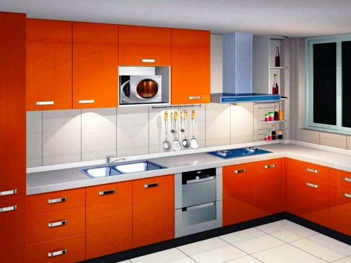 winkelküche in orange frische küchengestaltung