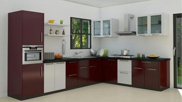 winkelküche mit dunkelroten küchenschränken