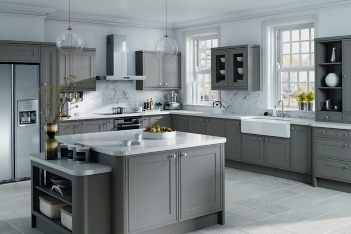 winkelküche mit kücheninsel graue küchenmöbel strehalen stil aus