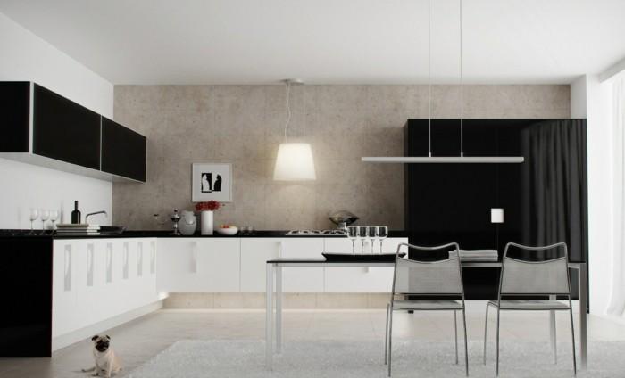 winkelküche weiß und schwarz kombinieren