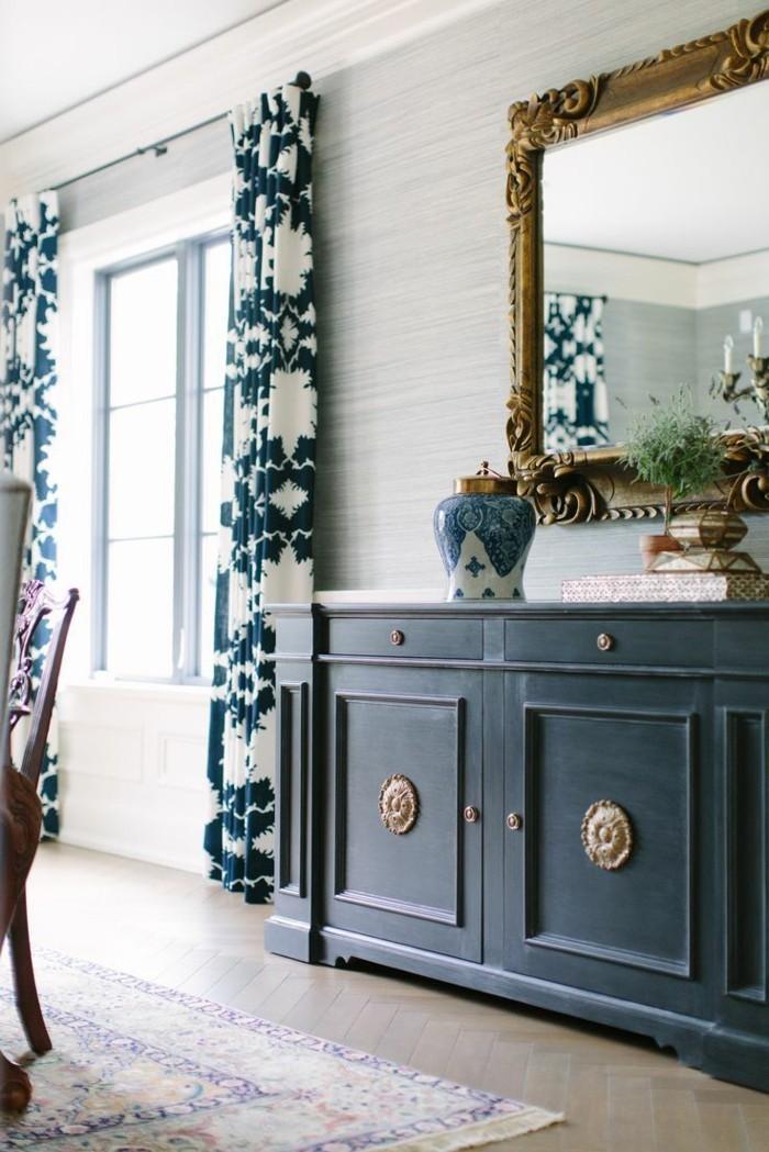 wohnideen esszimmer gardinen mit schönem muster als dekoration und sichtschutz