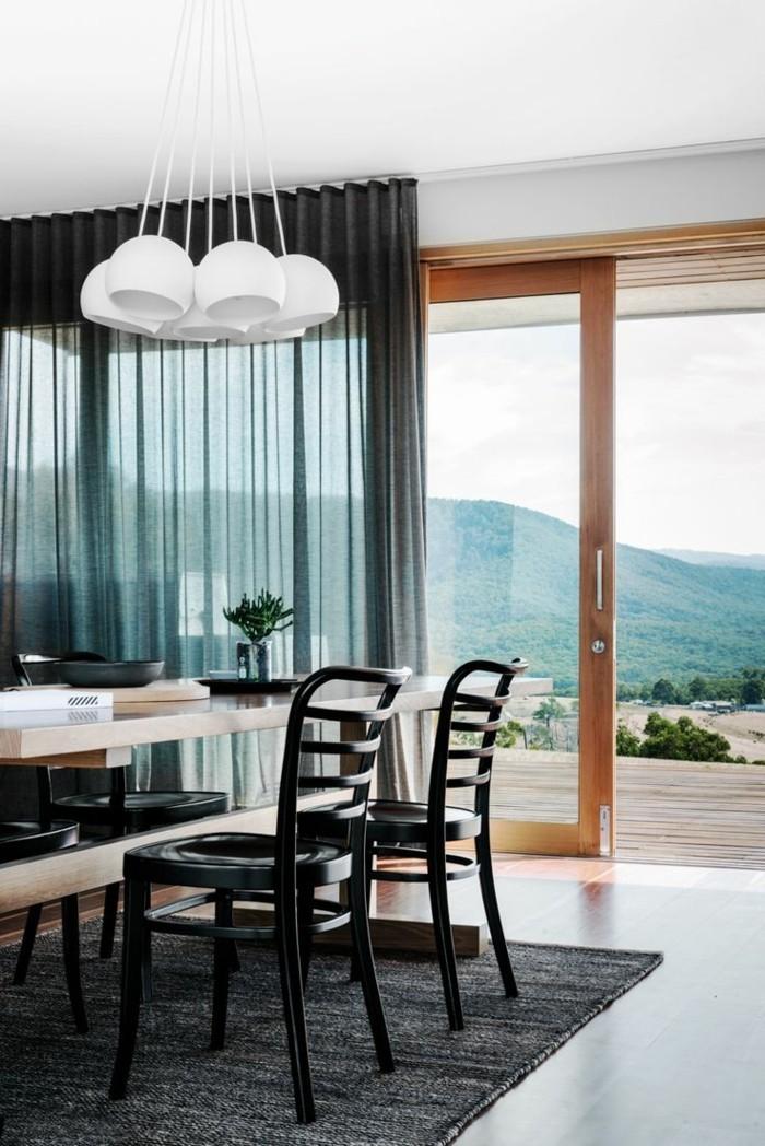 wohnideen esszimmer transparente gardinen in schwarz