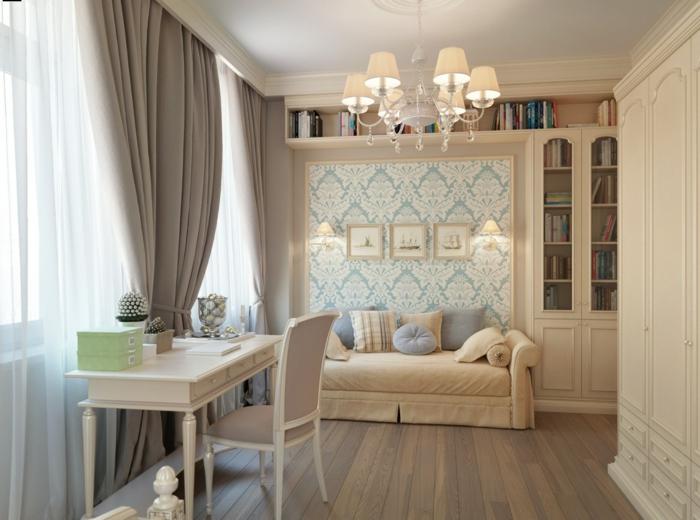wohnideen schlafzimmer gardinen in beige für sicht und sonnenschutz