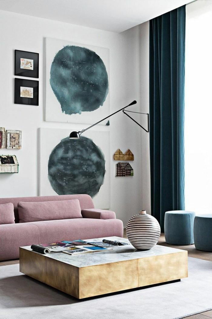 wohnideen wohnzimmer dunkle vorhänge im wohnraum