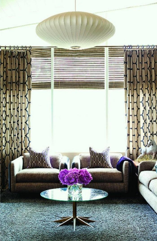 wohnideen wohnzimmer frisches gardinenmuster und schöner teppich