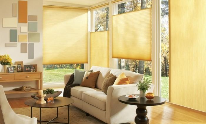 wohnideen wohnzimmer sicht und sonnenschutz durch moderne plissees