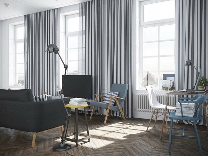 wohnideen wohnzimmer vorhänge mit streifenmuster