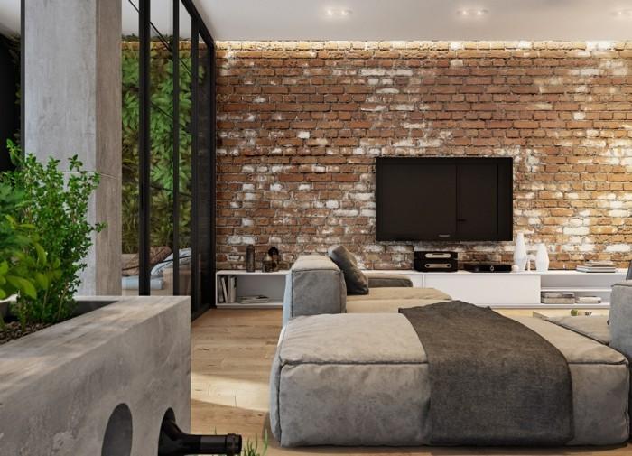 ziegel in einem wohnzimmer mit aussicht auf die natur