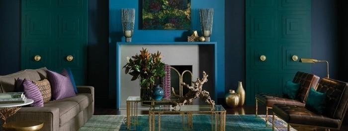 Blautöne Grün Samt Wohnzimmer einrichten
