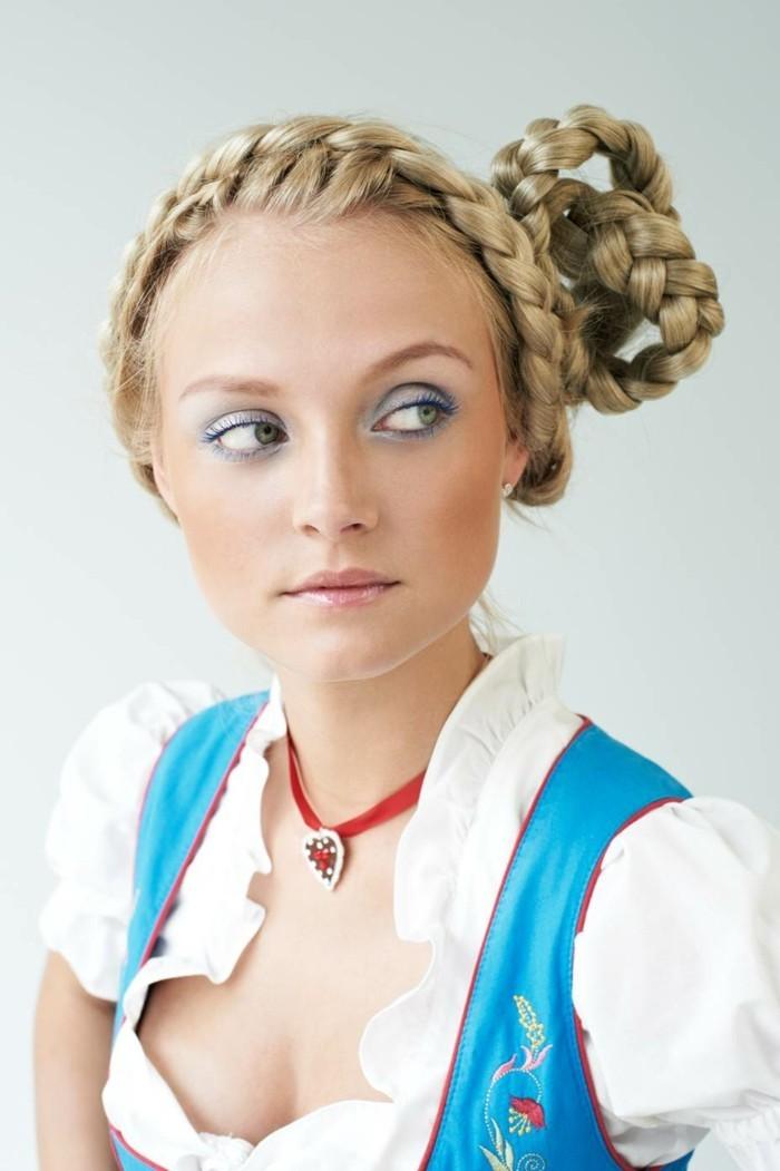 Oktoberfest Frisuren mit Anleitungen in Bildern zwei zöpfe romantisch blond