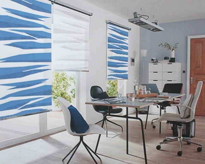 Textildesign blaue motive