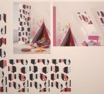 Ideen fürs Flächenvorhang Design– Textildesign Studenten erproben Praxis