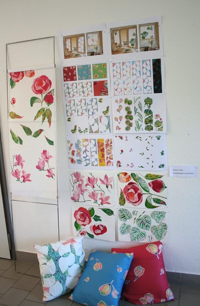 Textildesign ideen für farbige dekokissen