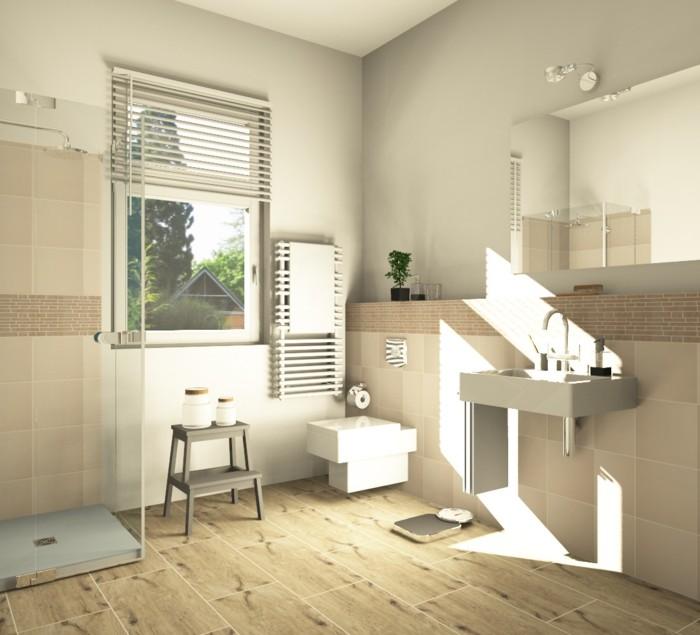 Fliesen in holzoptik badezimmer wohnlich gestalten for Badezimmer ideen fliesen holzoptik
