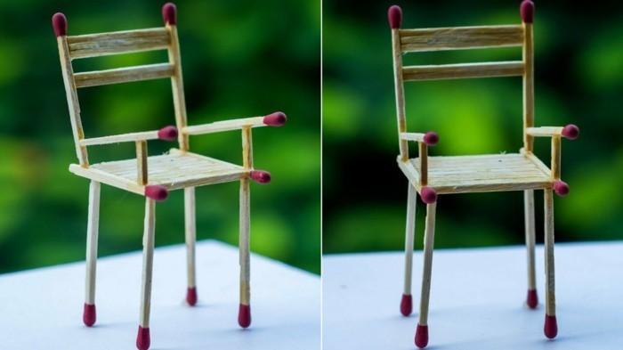 bastelideen diz deko streichholz stuhl