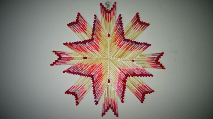 bastelideen diz deko strichholz streichholzstern diy deko wandekoration
