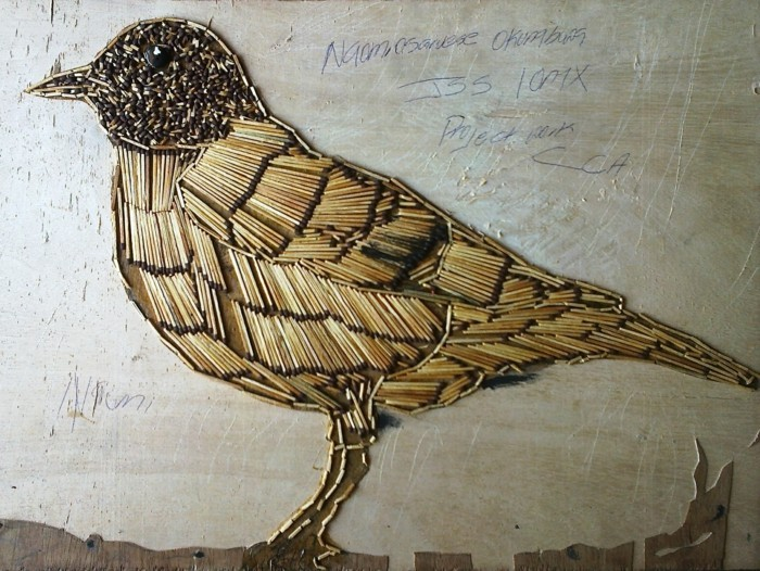 bastelideen diz deko strichholz streichholzstern streichhölzer vogel