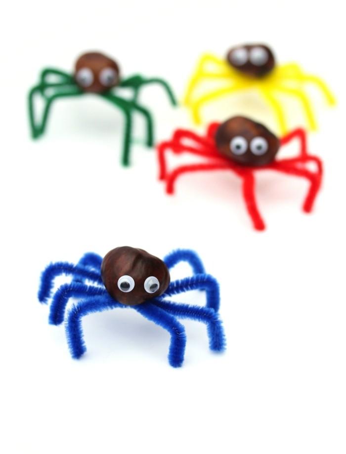 basteln mit kastanien farbige spinnen machen