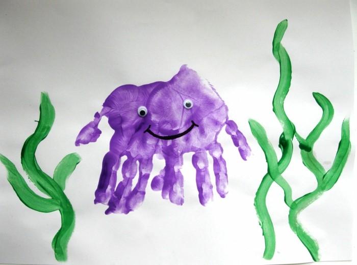 basteln mit kindern aus handabdrücken schöne bilder kreieren