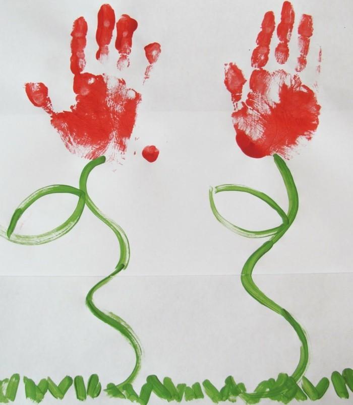 basteln mit kindern ausgefallene blumen aus handabdrücken