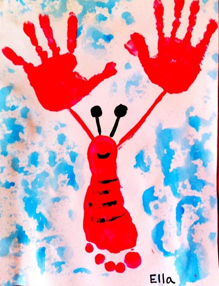 basteln mit kindern hand und fußabdrücke benutzen für originelle gemälde