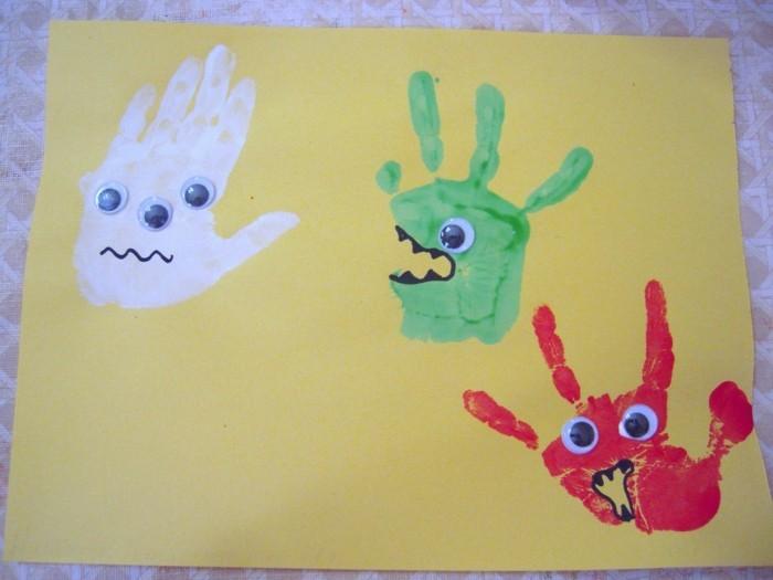 basteln mit kindern lustige bilder mit handabdrücken