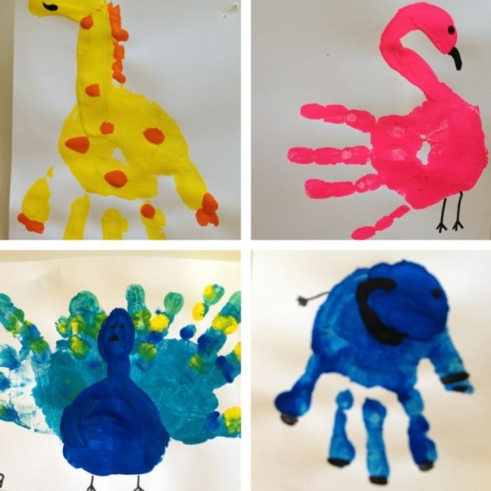basteln mit kindern lustige tiere aus handabdrücken selber machen