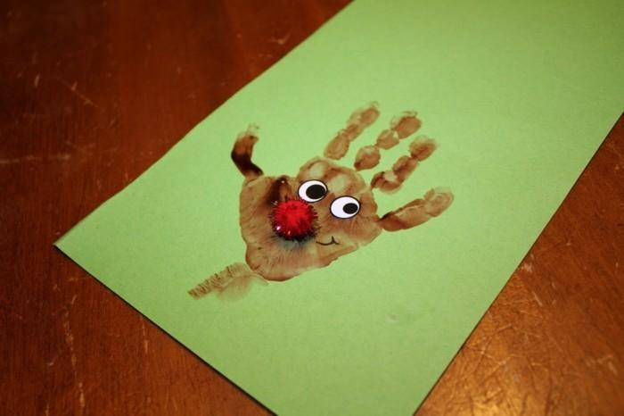basteln mit kindern rudolph aus handabdruck