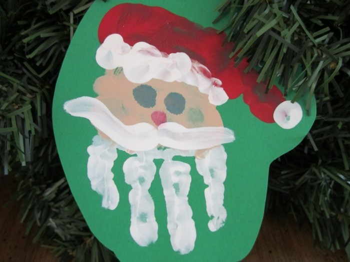 basteln mit kindern weihnachtsmann aus handabdruck