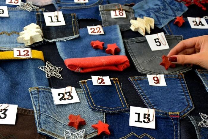 bastelvorlagen weihnachten adventkalender sleber basteln wiederverwendung klorollen jeanstaschen