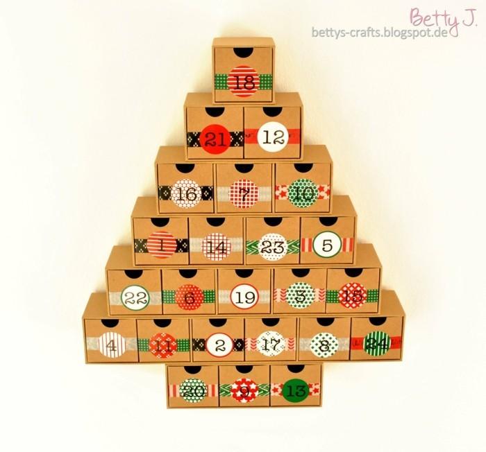 bastelvorlagen weihnachten adventkalender sleber basteln wiederverwendung schubladen