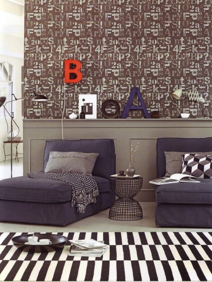 buchstaben deko im modernen wohnzimmer