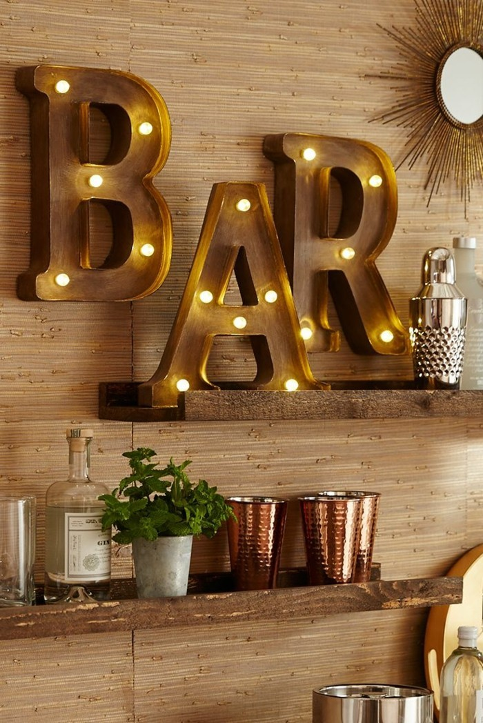 Basement Bar Wall Shelves