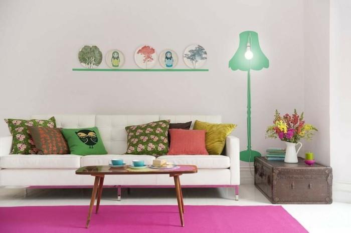wohnzimmer einrichten ideen bunte kissen weisses sofa wohnzimmer einrichten
