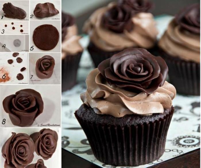 cupcake mit rose aus modellierschokolade dekorieren