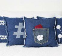 kissen aus jeans naehen, weg mit den alten jeans - dekoration aus jeansstoffen ist der neue trend, Design ideen