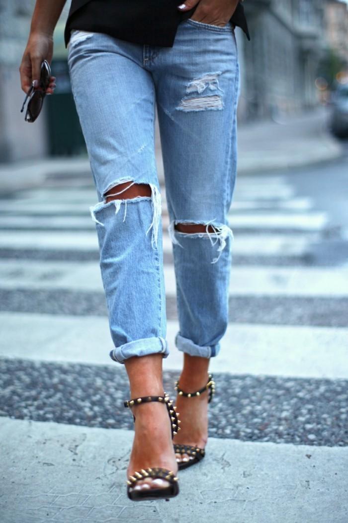 destroyed moderne jeanshose denim